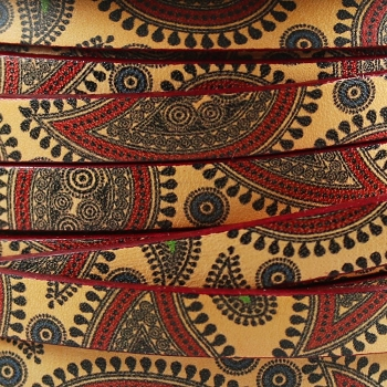 Ornate 10mm Flat Printed Italian leather BOHO PAISLEY - per inch