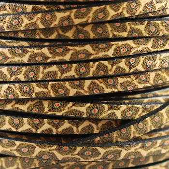 Ornate 5mm Flat Printed Italian leather PEACOCK - per inch