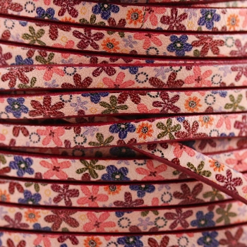 Ornate 5mm Flat Printed Italian leather PINK FLOWERS - per inch