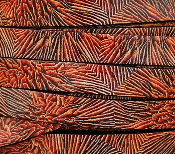 Ornate 10mm Flat Printed Italian leather CORAL - per inch