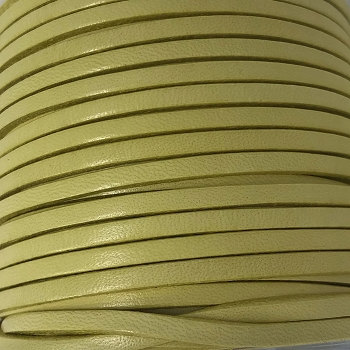 3mm Flat Leather Cord - Candy Olive - per inch