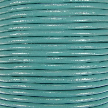 2mm Round Indian Leather Cord - Light Turquoise - per foot