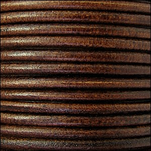 2mm Round Euro Leather Cord - Distressed Brown - per foot