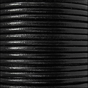 2mm Round Euro Leather Cord - Black - per foot