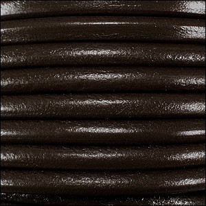 2mm Round Euro Leather Cord per 25M SPOOL - Dark Brown