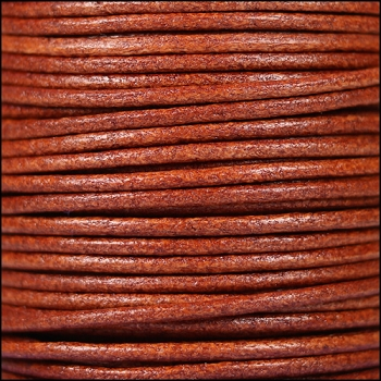 2mm Round Euro Leather Cord per 25M Spool - Whiskey
