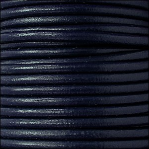 2mm Round Euro Leather Cord - Navy