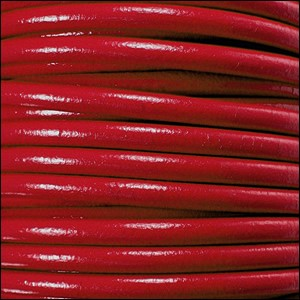 2mm Round Euro Leather Cord - Red - per foot