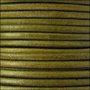 2mm Round Euro Leather Cord per 25M Spool - Distressed Green