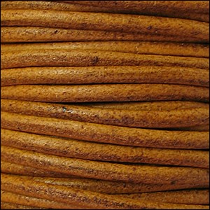 2mm Round Euro Leather Cord per 25M Spool - Camel