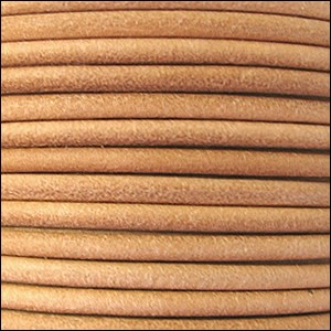 2mm Round Euro Leather Cord per 25M Spool - Natural