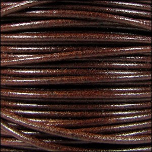 2mm Round Mediterranean Leather Cord - Whiskey - per foot