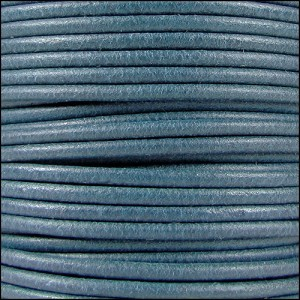 2mm Round Mediterranean Leather Cord - Sky Blue