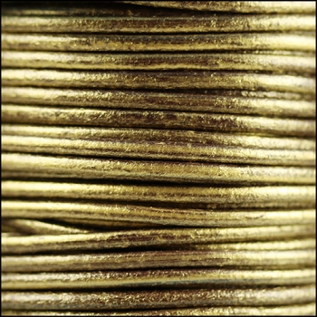 2mm Round Euro Leather Cord - Metallic Gold Brown - per foot