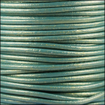 2mm Round Euro Leather Cord per 25M Spool - Metallic Golden Teal