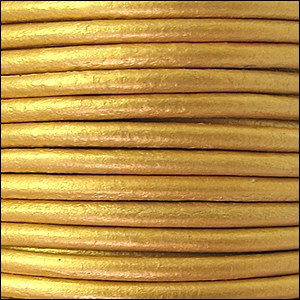 2mm Round Euro Leather Cord per 25M Spool - Metallic Gold