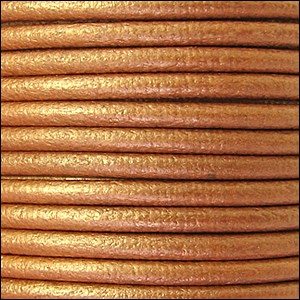 2mm Round Euro Leather Cord per 25M SPOOL - Metallic Bronze