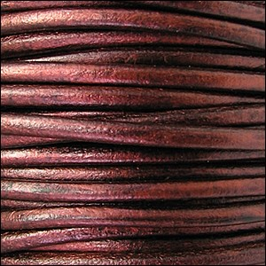 2mm Round Euro Leather Cord - Metallic Bordeaux - per foot