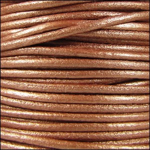 2mm Round Mediterranean Leather Cord - Metallic Copper
