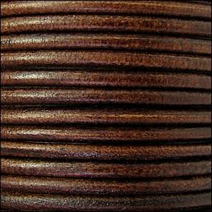 2mm Round Euro Leather Cord per 25M Spool - Metallic Silver Bordeaux