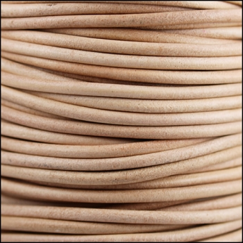 3mm Round Indian Leather Cord -Natural - per inch