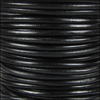 3mm Round Indian Leather Cord -Shiny Black - per inch