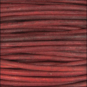 3mm Round Indian Leather Cord -Red - per inch