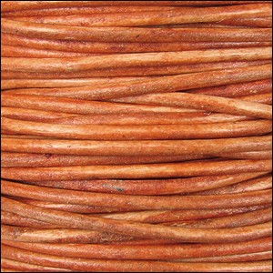 3mm Round Indian Leather Cord -Orange - per inch