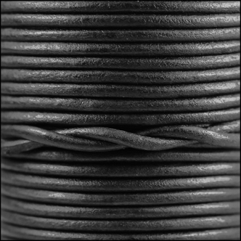 3mm Round Indian Leather Cord per 25M SPOOL -Natural Matte Black