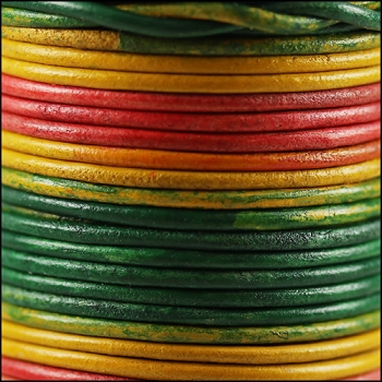 3mm Round Indian Leather Cord -Multi Color - per inch