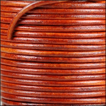 3mm Round Indian Leather Cord -Natural Red - per inch