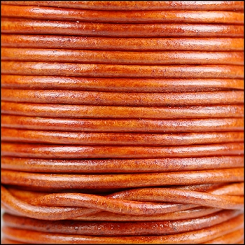 3mm Round Indian Leather Cord -Natural Orange - per inch