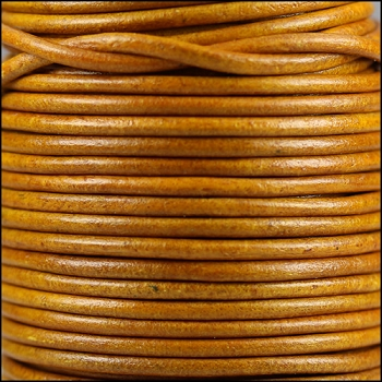 3mm Round Indian Leather Cord -Natural Mustard - per inch