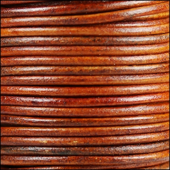 3mm Round Indian Leather Cord -Natural Medium Brown - per inch