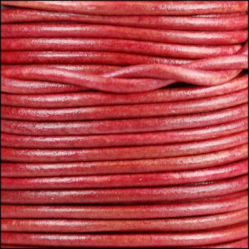 3mm Round Indian Leather Cord -Natural Cerise - per inch