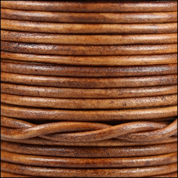 3mm Round Indian Leather Cord -Natural Brown - per inch