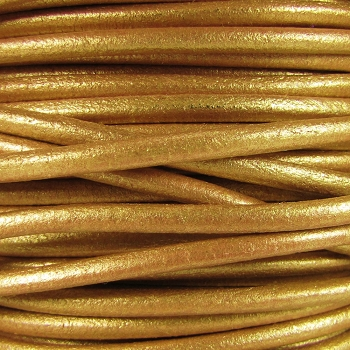 3mm Round Mediterranean Leather Cord - Gold - per inch