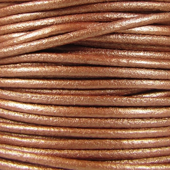3mm Round Mediterranean Leather Cord - Metallic Copper - per inch