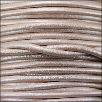 3mm Round Euro Leather Cord per 25M SPOOL - Metallic Nude