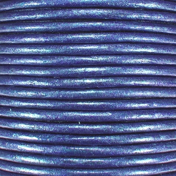 3mm Round Indian Leather Cord -Blue Metallic