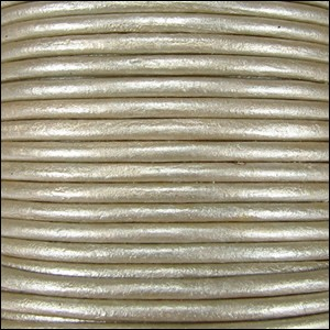 3mm Round Indian Leather Cord per 25M SPOOL -Cement Metallic