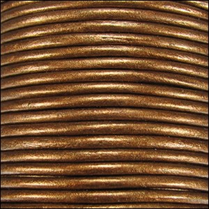 3mm Round Indian Leather Cord -Golden Brown Metallic - per inch