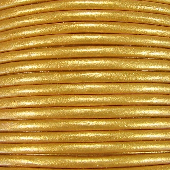 3mm Round Indian Leather Cord -Gold Metallic - per inch