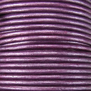 3mm Round Indian Leather Cord -Purple Metallic - per inch