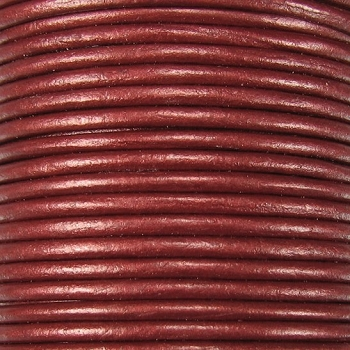 3mm Round Indian Leather Cord -Maroon Metallic