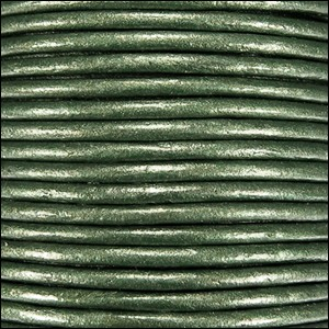3mm Round Indian Leather Cord -Olive Green Metallic - per inch