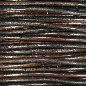 2mm Round Indian Leather Cord - Dark Brown Natural Dye - per foot