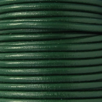 Euro 4mm Round Leather Cord - KELLY GREEN