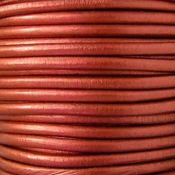 Euro 4mm Round Leather Cord - METALLIC COPPER