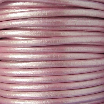 Euro 4mm Round Leather Cord - METALLIC ROSE